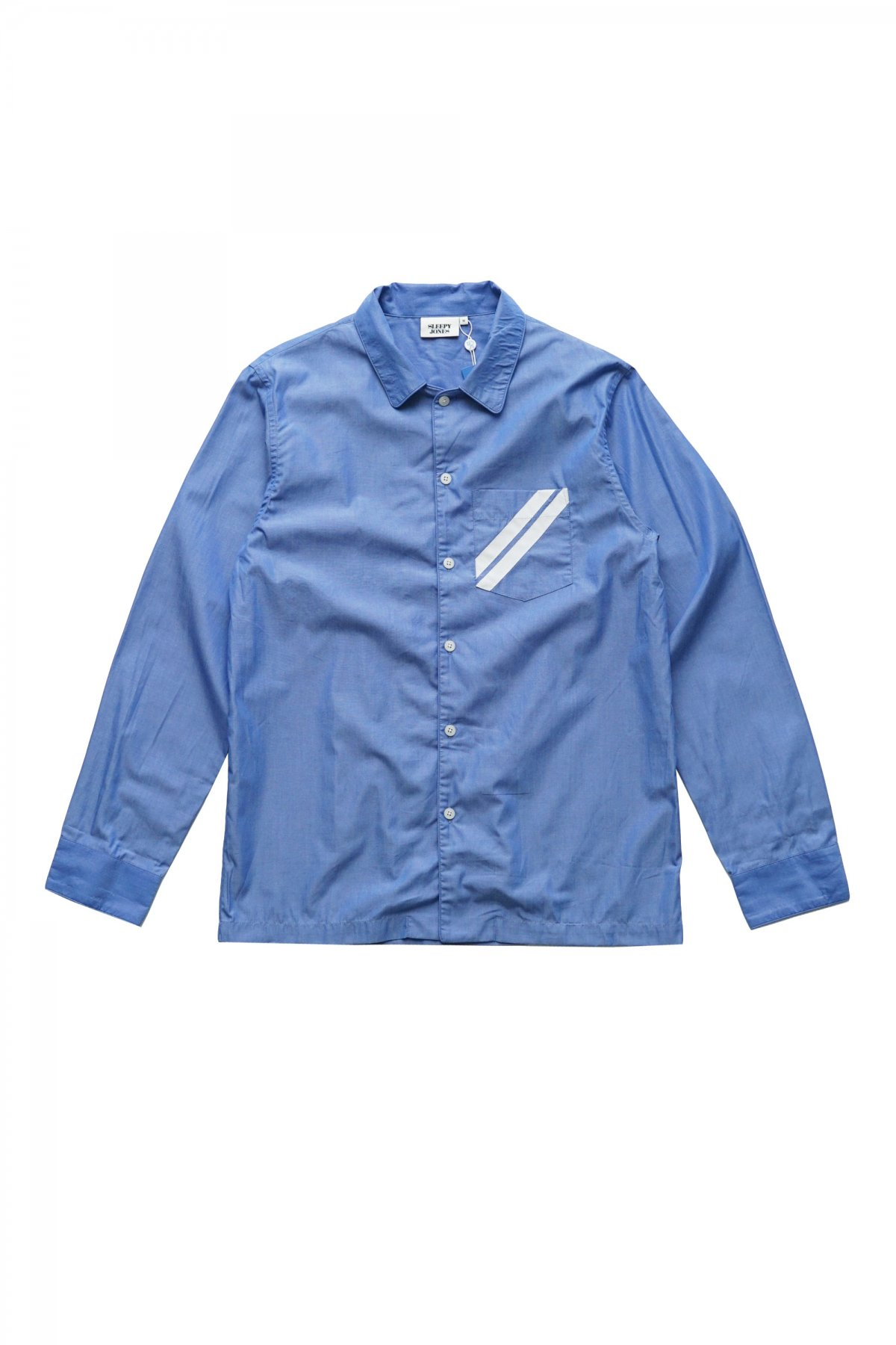 SLEEPY JONES - HENRY TRAINER SHIRT - POPLIN BLUE