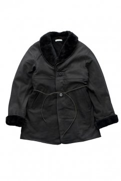 COAT - OLD JOE - EXCLUSIVE GATHERING WAIST MOUTON COLLAR JACKET - BLACK SHEEP - Price 280,800 tax-in