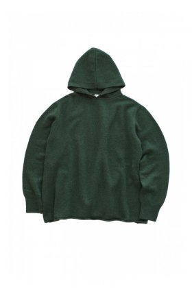 humoresque ★★★ - CASHMERE HOOD PULLOVER ( UNISEX ) - FOREST GREEN - M