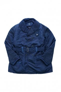 Porter Classic - SUPER NYLON SHAWL COLLAR COAT - BLUE
