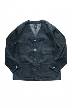 NIGEL CABOURN - LYBRO V NECK DENIM JACKET - INDIGO
