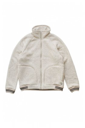 Nigel Cabourn × PEAK PERFORMANCE - WOOL FLEECE ZIP JACKET - ECRU