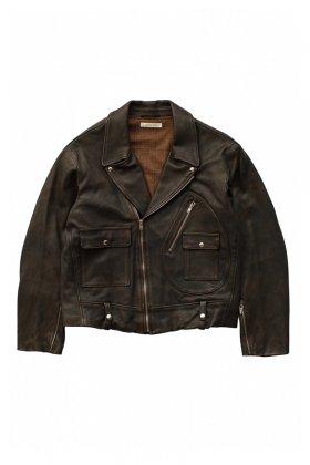OLD JOE - DOUBLE FRONT MOTO JACKET - BLACK BROWN