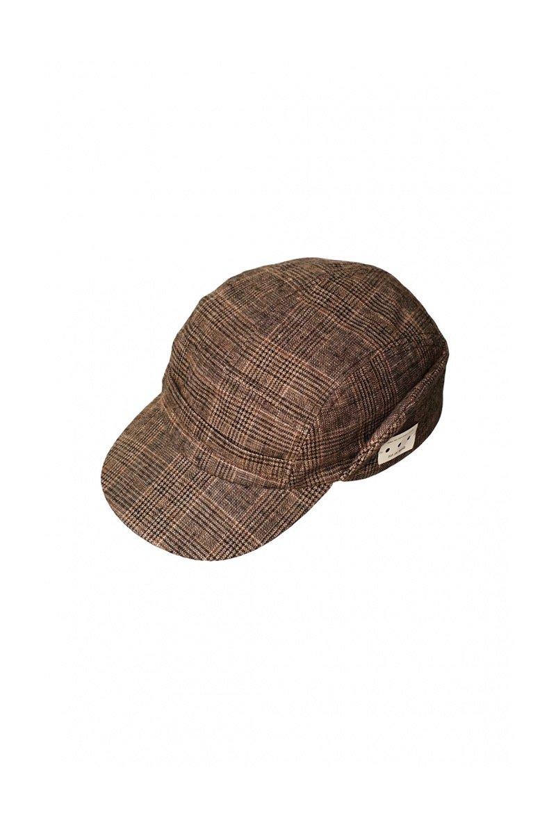 OLD JOE - BELTED FRONT WORK CAP - GLEN CHECK SIENNA