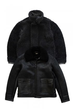JACKET - OLD JOE - EXCLUSIVE REVERSIVLE DISTREESED SHEARLING JACKET - BLACK - Price 410,400 tax-in