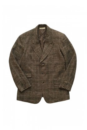 OLD JOE - PEAKED RAPEL ARTISAN SACK JACKET - GLEN CHECK SIENNA