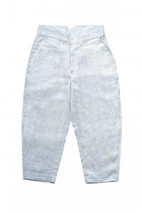 Porter Classic - LINEN STRIPE CLASSIC THREE PIECE PANTS - L.BLUE