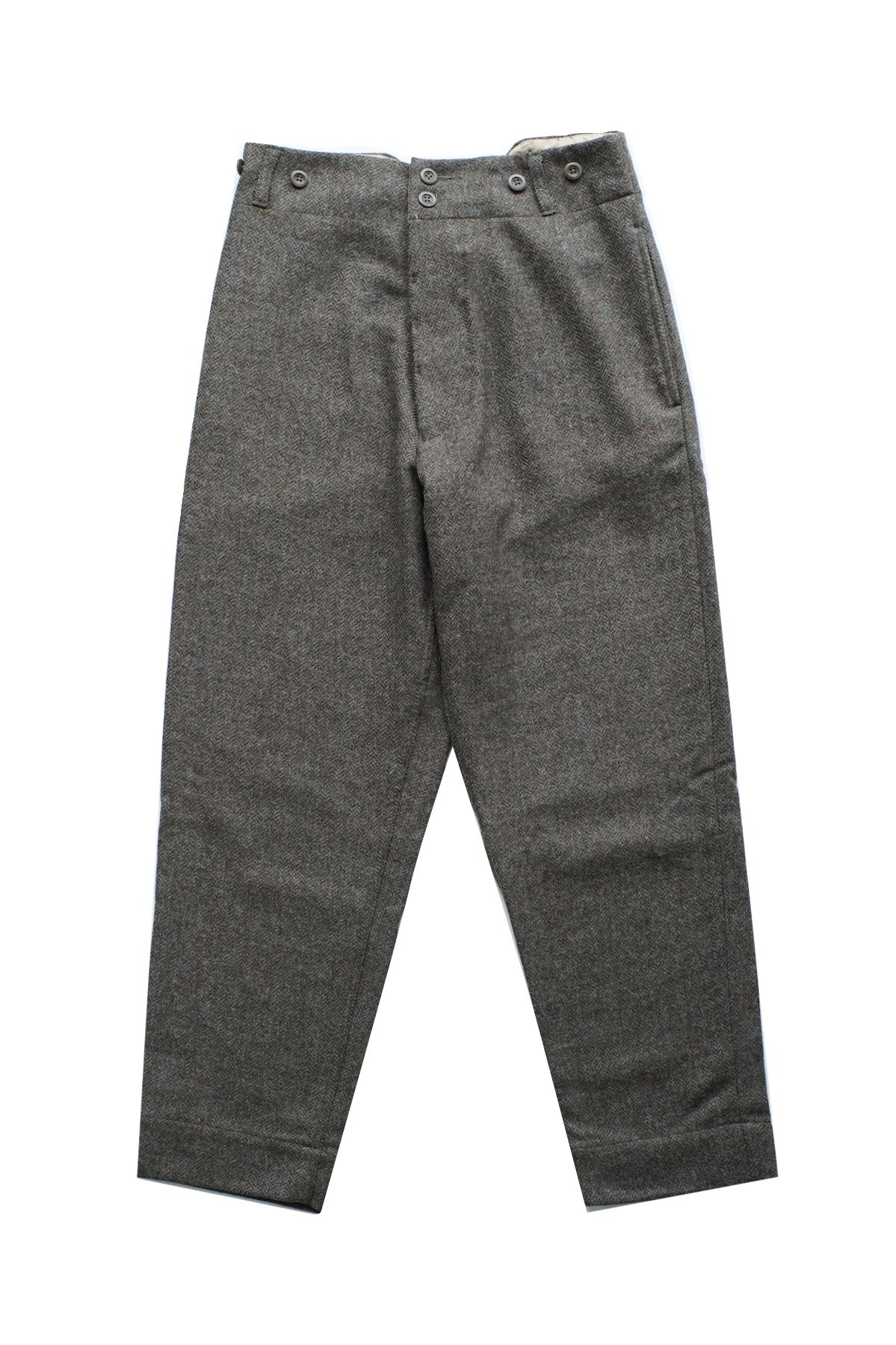 Nigel Cabourn - WOOL FARM PANT HERRINGBONE WOOL GREEN - PRICE 52,800 tax-in