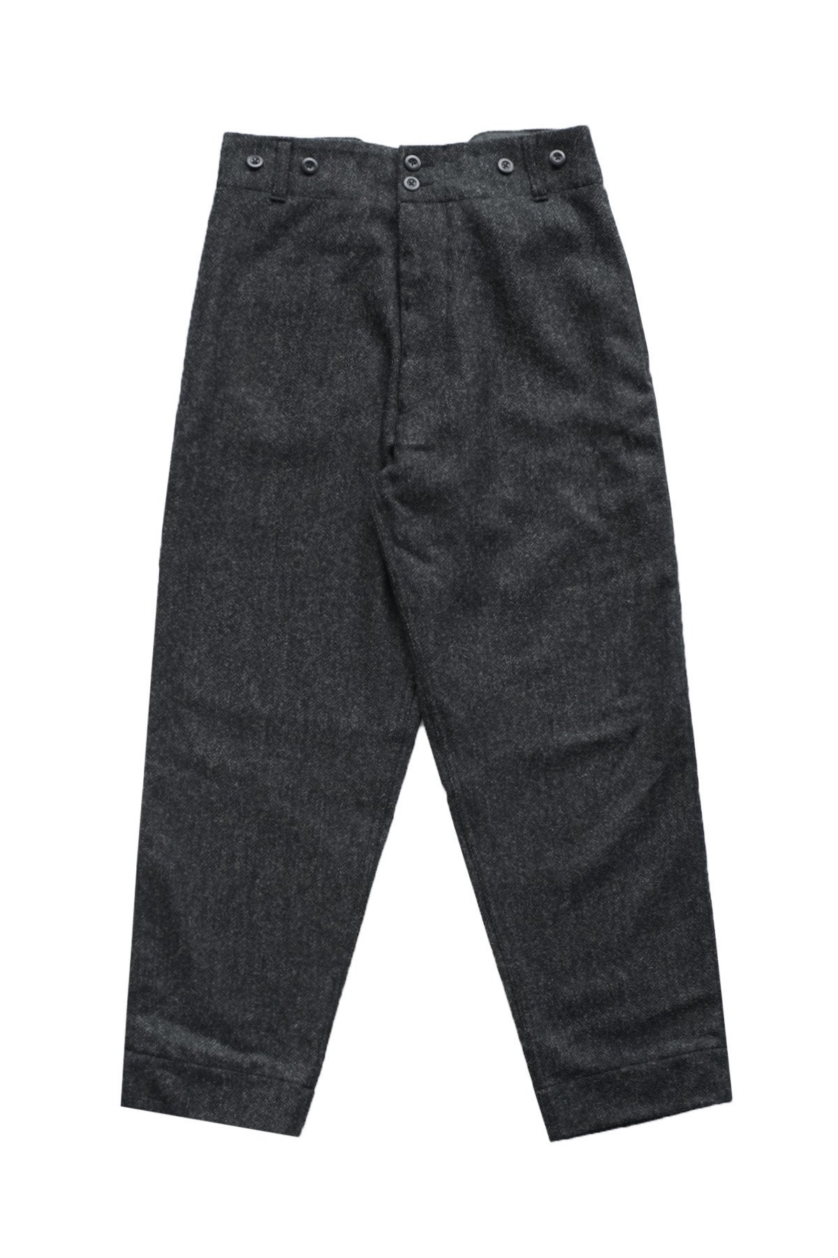Nigel Cabourn - WOOL FARM PANT HERRINGBONE WOOL CHACOAL GRAY - PRICE 52,800 tax-in