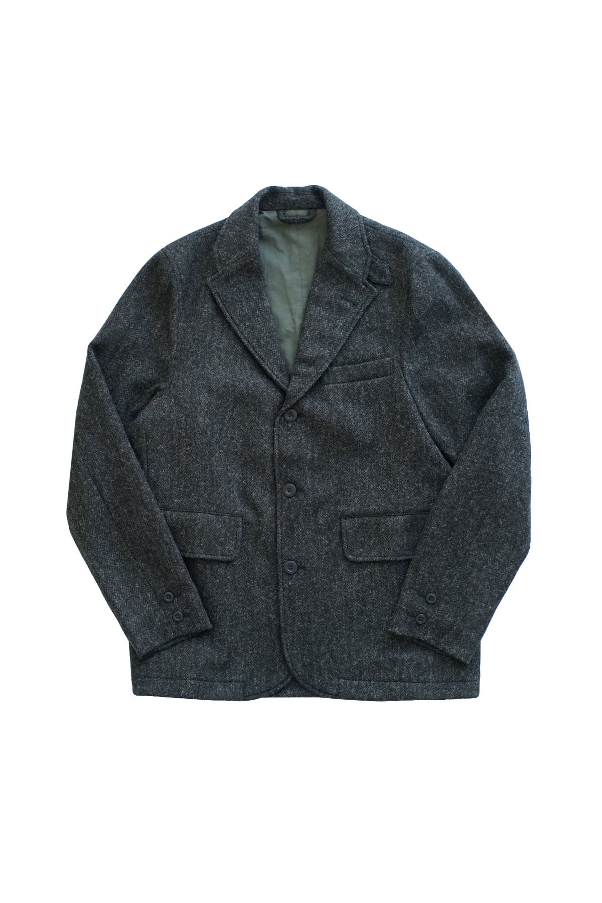 - Nigel Cabourn - WOOL SKIRT BLAZER HERRINGBONE WOOL CHACOAL GRAY - PRICE 93,500 tax-in
