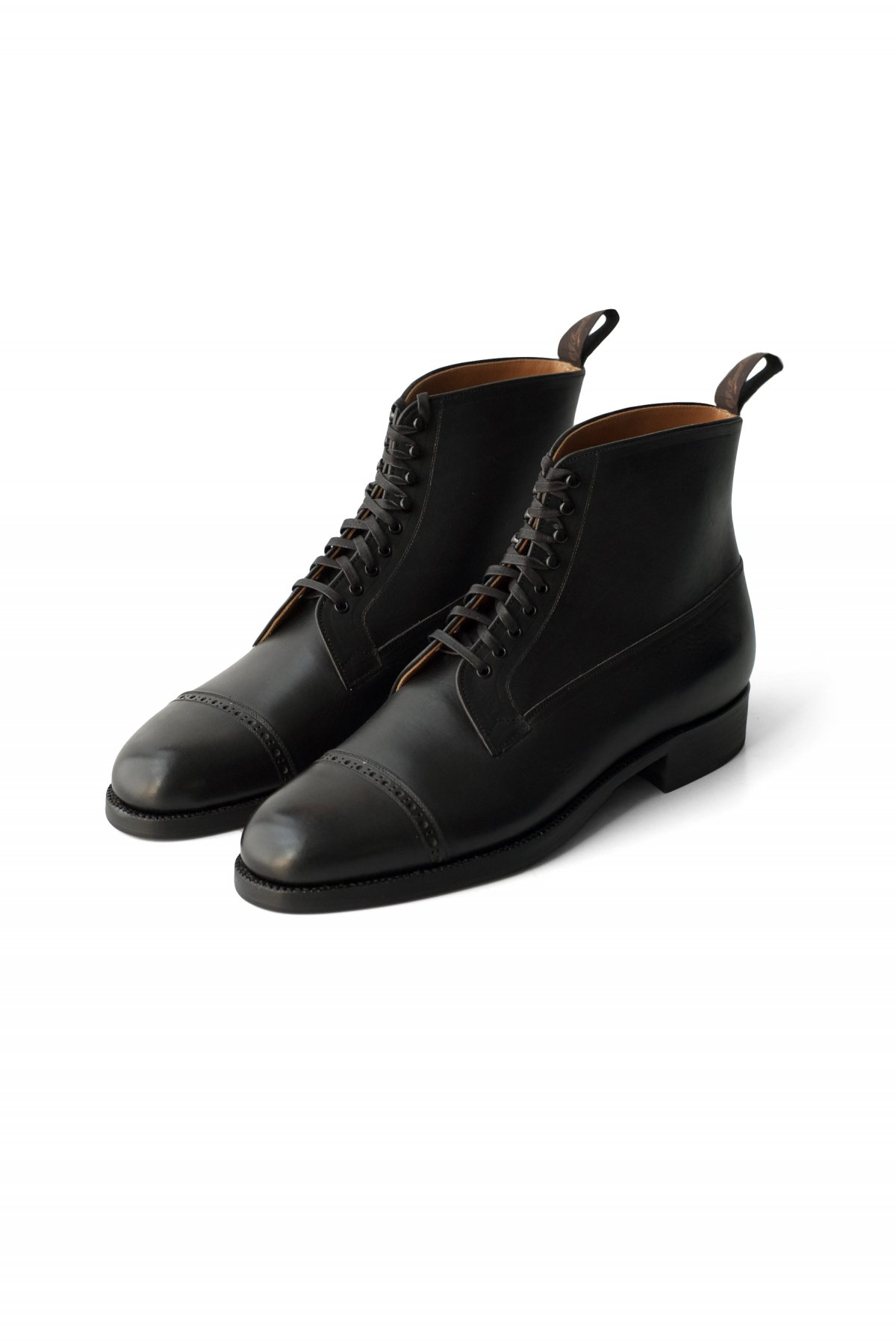 "OLD JOE - ""The Welder"" VACHETTA LEATHER CAP TOE BOOTS BLACK PRICE 88,000 tax-in"