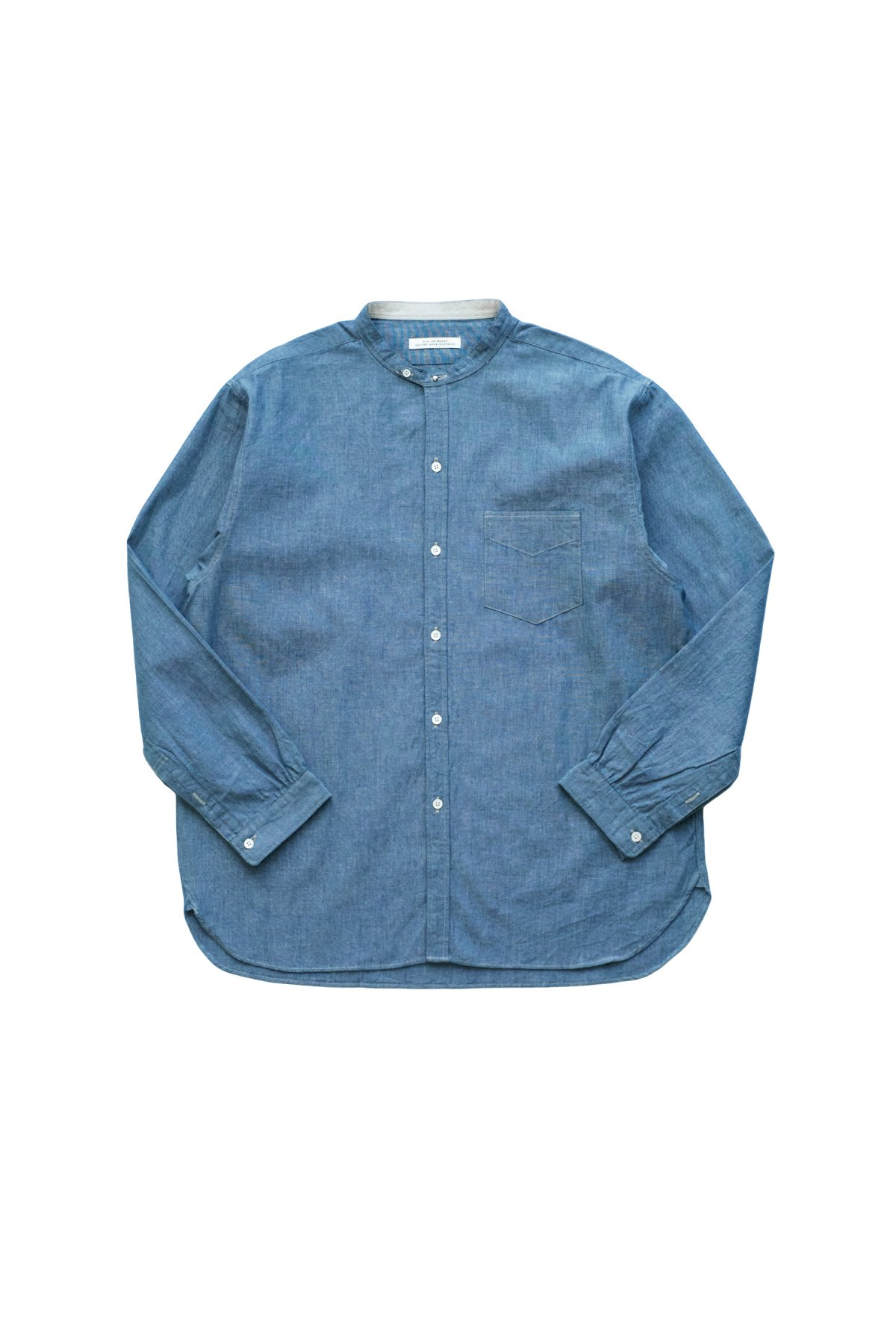 OLD JOE - STUD BUTTON BAND COLLAR SHIRTS - INDIGO CHAMBRAY - PRICE 27,500 tax-in
