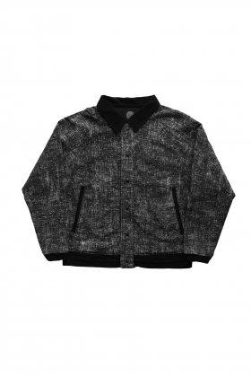 Porter Classic - PEELED CLOTH VARSITY JACKET - BLACK