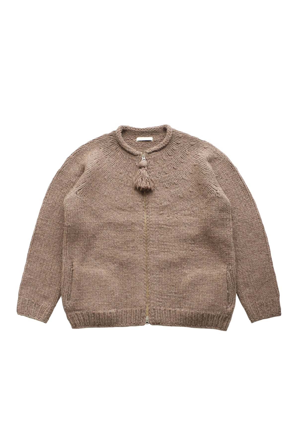 KNIT - OLD JOE - ZIP UP CREW-NECK COWCHAIN - MINK - PRICE 85,800 tax-in