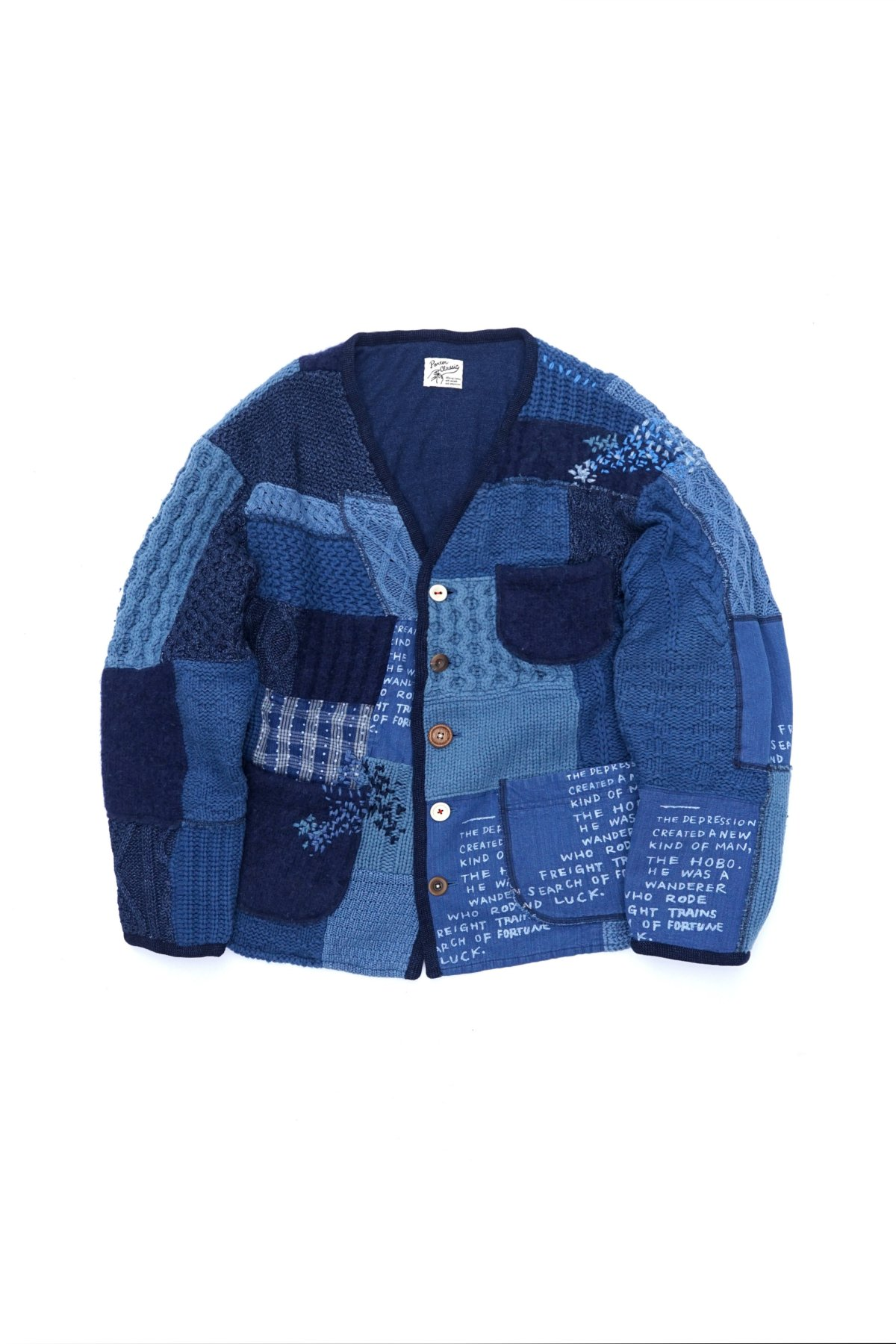 - Porter Classic - H/W PATCHWORK KNIT CARDIGAN - BLUE PRICE 165,000 tax-in