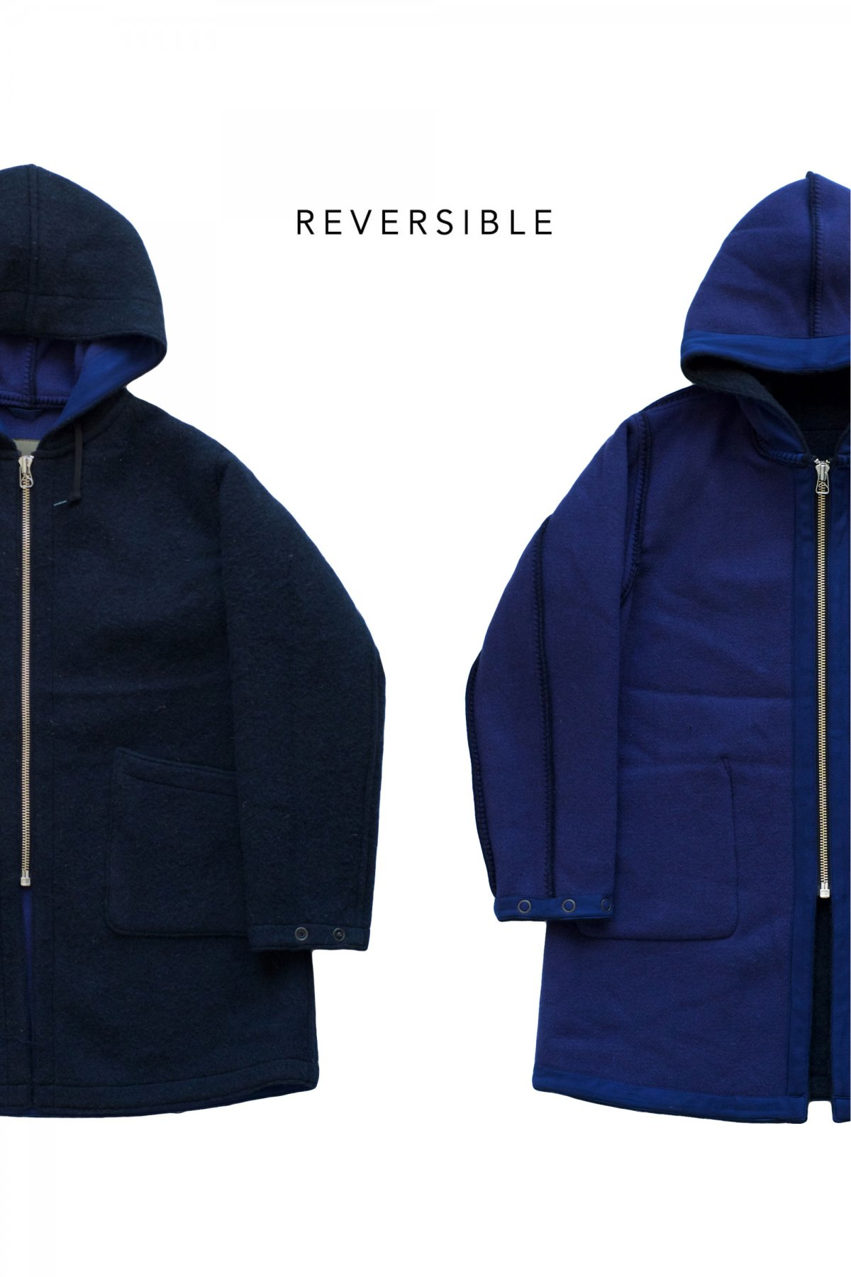 Nigel Cabourn - REVERSIBLE WARM UP COAT DARK NAVY - PRICE  74,800 tax-in