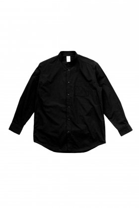 FEIT - BAND COLLAR SHIRT LONG - BLACK
