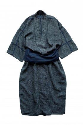Porter Classic - SASHIKO LINEN PREMIUM YABO YUKATA - BLUE