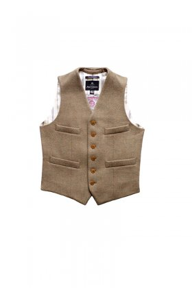 "Nigel Cabourn - SHORT HARRIS TWEED VEST ""SILK STRIPED BACK"" - STONE"
