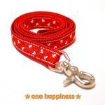 ☆one happiness☆ マリン柄 リード・首輪・ハーネス (赤) ML 中型犬