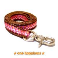☆one happiness☆ ラチス柄 リード・首輪・ハーネス (茶/ピンク) M 中型犬