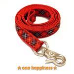 ☆one happiness☆ タータンチェック柄 リード・首輪・ハーネス (赤) S 小型犬