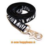 ☆one happiness☆ ゼブラ柄 リード・首輪・ハーネス (ブラック) S 小型犬