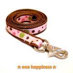 ☆one happiness☆ ドット柄 リード・首輪・ハーネス (茶/ピンク) S 小型犬