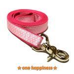 ☆one happiness☆ ホワイトドット柄 リード・首輪・ハーネス (ピンク) ML 中型犬