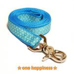 ☆one happiness☆ ホワイトドット柄 リード・首輪・ハーネス (アクア) ML 中型犬