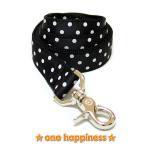 ☆one happiness☆ ホワイトドット柄 リード・首輪・ハーネス (ブラック) L 中型犬・大型犬