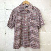 70's 【J.C.Penny】 半袖 チェックシャツ L-16 1/2