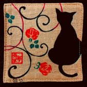 コースター 黒猫 桃