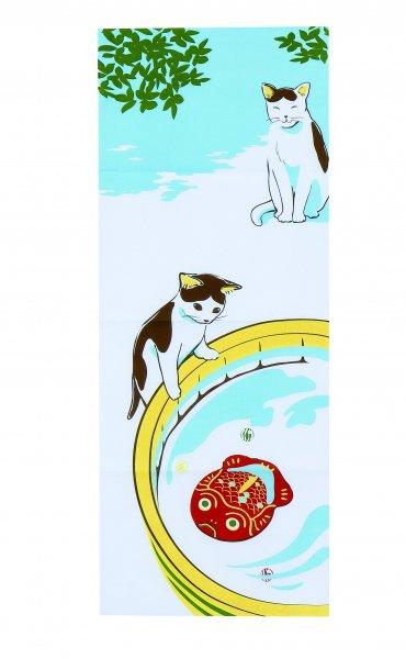 くろちくの日本手拭い 猫とブリキの金魚