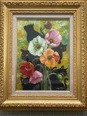 永月水人作油絵『黒猫とポピー』