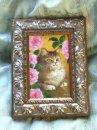 永月水人作油絵『薔薇の木陰でひとやすみ』