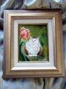 永月水人作油絵『チューリップと猫』