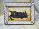 永月水人作油絵『仰向けで寝る猫』