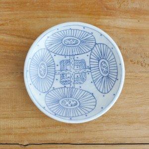 ミヤ マリカ / 豆皿 花 モノクロブルー c