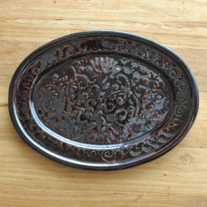 翠窯 / Lotus plate oval-L (marron)