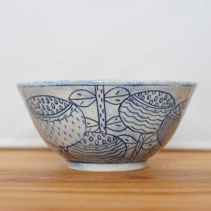 ミヤ マリカ / お茶碗 Blue モノクロ 花