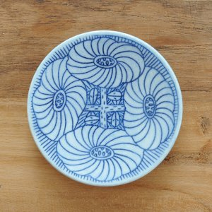 ミヤ マリカ / 豆皿 花 モノクロブルー g