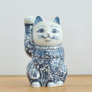 翠窯 / 招き猫三寸 右手(座布団・箱付)