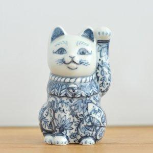 翠窯 / 招き猫三寸 左手(座布団・箱付)