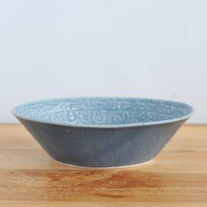 音屋 nakagawa / 陽刻 グレー釉 オバール鉢