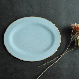 藤本 咲/リム皿 オーバル(ブルー)