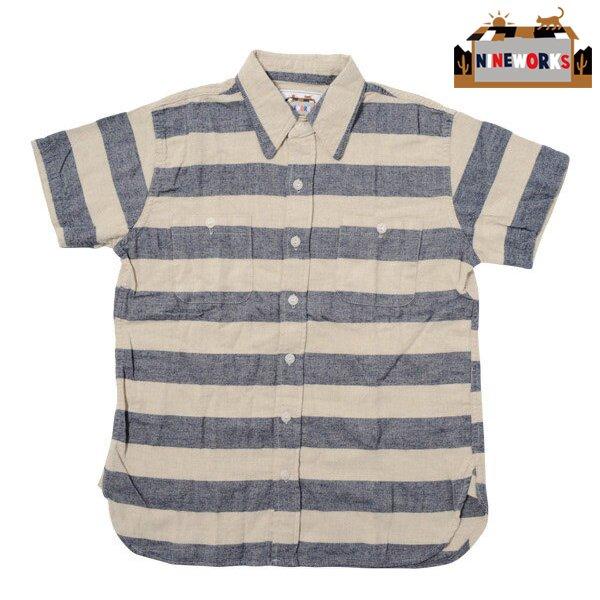 【NINEWORKS】S/S Wide Border Ranch Shirts (ナインワークス ショートスリーブ ワイド ボーダー ランチ シャ…