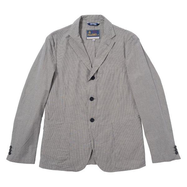 【FRAIZZOLI】Cotton Linen Stripe Travel Jacket (フライツォーリ コットン リネン ストライプ トラベル ジャケッ…
