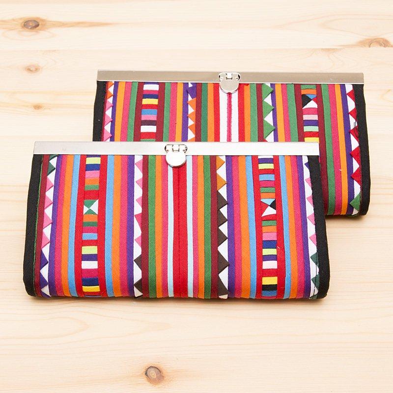 画像3:リス族 モラ刺繍長財布(カラフル)
