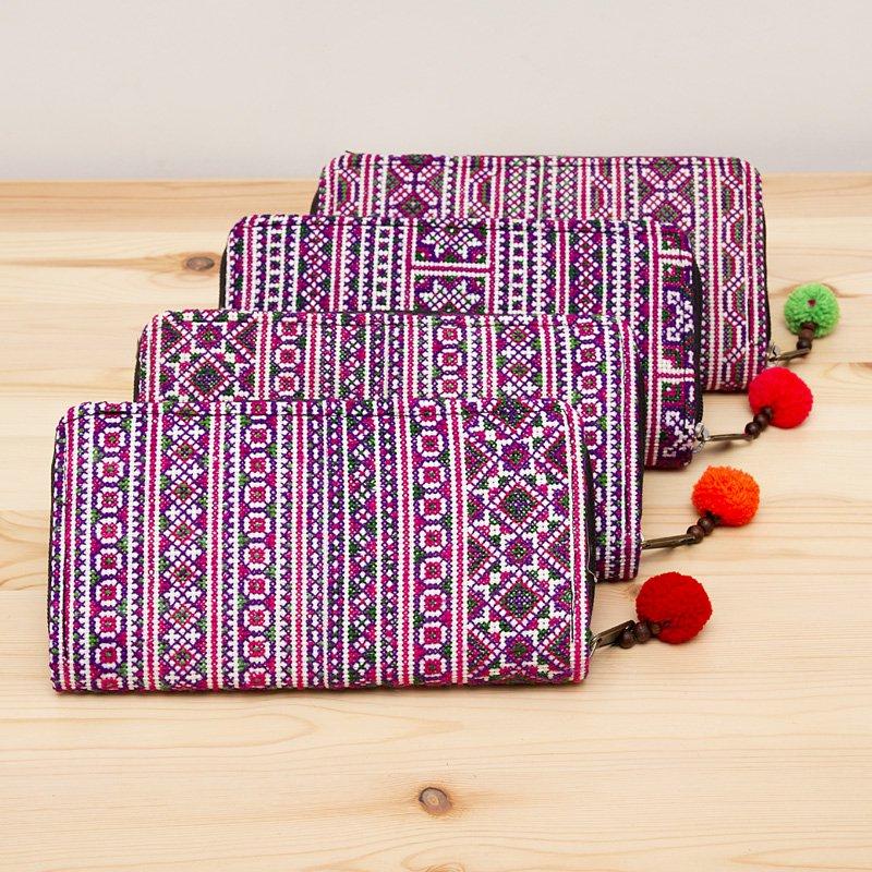 画像3:モン族刺繍のラウンドファスナー長財布(パープル)/民族ファッション/タイ雑貨